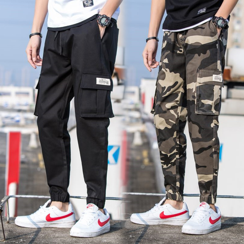 Pants MEN'S Casual Pants Popular Brand Loose Straight Camouflage Korean-style Trend Capri Pants Beam Leg Harem Pants Bib Overall