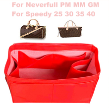 For Neverfull PM MM GM,Speedy25 30 35 40 Genuine Leather Tote Organizer Purse Insert Bag in Cosmetic Makeup Diaper Handbag
