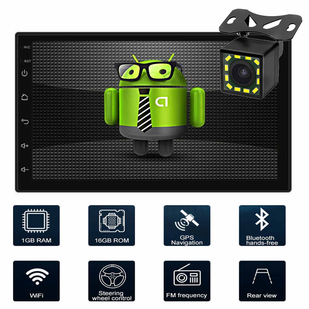 "Autoradio 2 din Android coche Radio HD 7 ""Pantalla táctil Audio Bluetooth cámara de visión trasera MP5 Multimidio reproductor de coche Android doble en navegación GPS Android 8,1 radio reproductor de vídeo Universal"