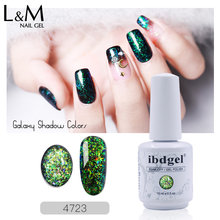 1pc ibdgel Galaxy serie Ombra Unghie in Gel Polish Gelpolish nero bottiglia di 15ml LED & UV del Gel di Colore Del Chiodo vernish shinning gelitter(China)