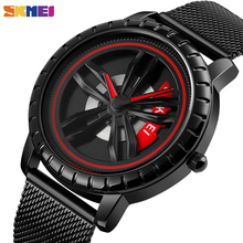 SKMEI Cool Quartz Mens Watches Hollow Rotation Dial Waterpro