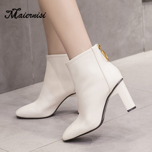 купить MAIERNISI Boots Female Leather Women Boots Thick High Heels Mid-Calf Boots Ladies Round Toe Winter Shoes Women Platform Boots дешево