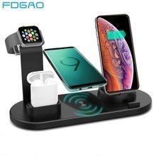 Fdgao doca de carregamento suporte para iphone 12 11 xs max xr x 8 plus airpods pro apple assista se 6 5 4 3 estação carregador sem fio rápido