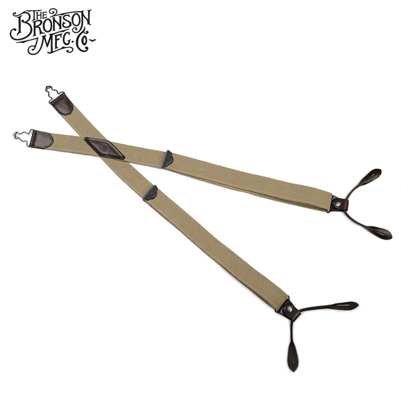 Bronson Old Time Solid Color Suspenders Adult Suit Pants Suspender Cowhide Spaghetti Flexible Shoulder Strap