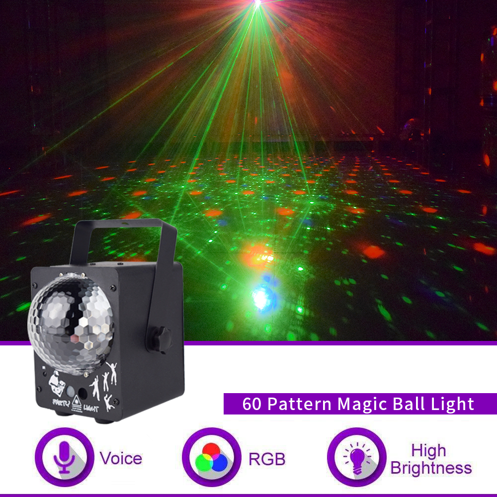 WUZSTAR Disco Light Ball DJ With 60 Patterns Magic RG Laser Projector  RGB LED Party Holiday Bar Christmas Stage Lighting Effec