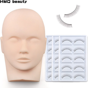 Eyelash Extension Training kit Silicone Mannequin Model Head With Practice False Lashes Grafted  Tools - discount item  20% OFF Makeup
