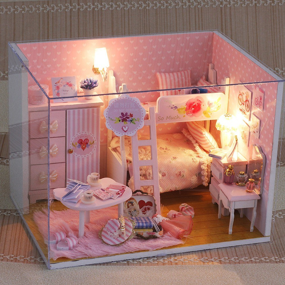 Miniature Super Mini Size Doll House Model Building Kits Wooden Furniture Toys DIY Dollhouse Girl Bedroom Pink Girl Heart