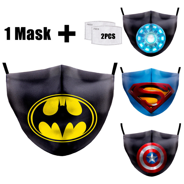 PM2.5 Filter Mouth Masks Washable Batman 3D Printing Masks Fabric Face Masks Reusable PM2.5 Dust Proof Flu Bacteria Face Mask