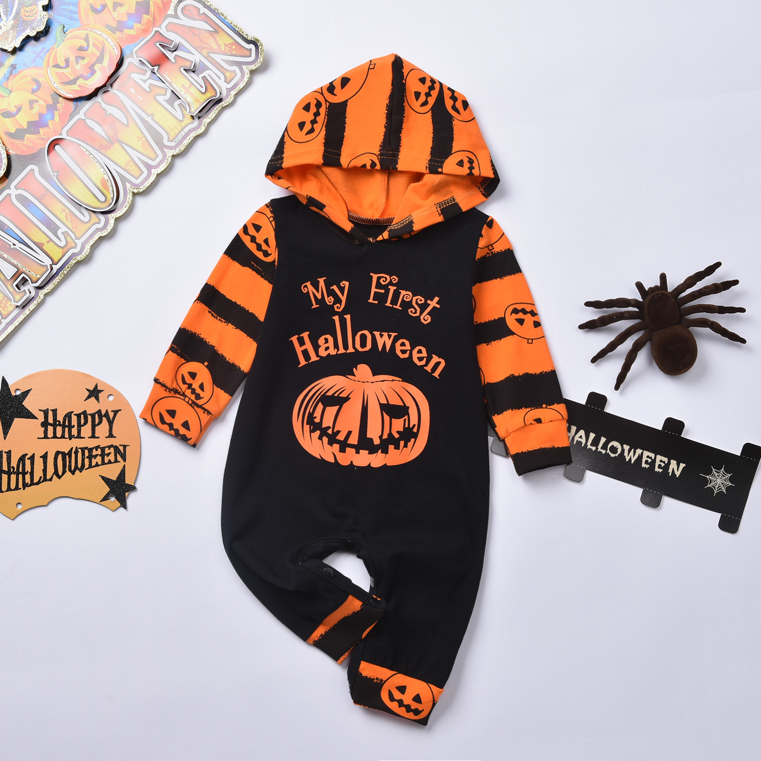 Pudcoco Newborn Baby Boy Clothes My 1st Halloween Print Cotton Hooded   Romper   Jumpsuit One-Piece Outfit Halloween Clothes