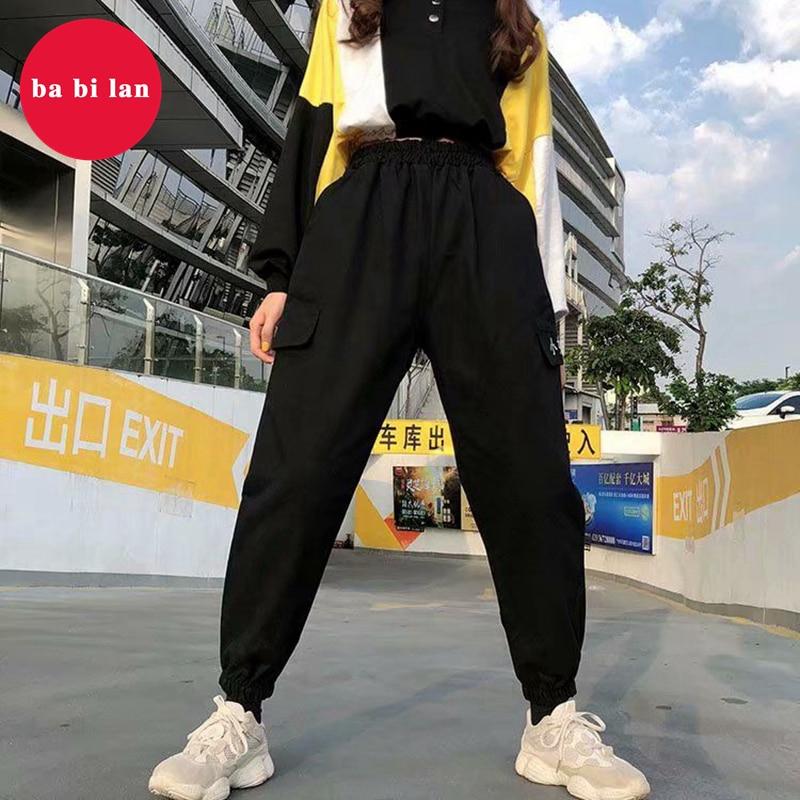 2020 New Overalls Women's Thin High Waist Black Pants Loose Bf Straight Sports Beam Feet Wild Casual Pants