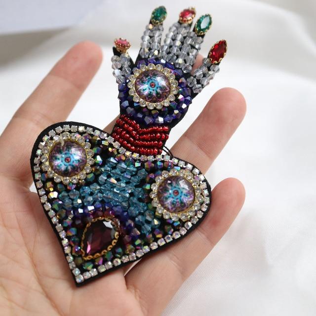 Patchs perlés en cœur pour vêtements | Pièce, parches cousues sur paillettes, Appliques décoratives en strass, 1 pièce
