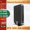 2021 новые игровые безвентиляторный мини-ПК Core i9-9900 i7-9700 i5-9400F GeForce GTX 1650 4GB GDDR6 настольные компьютеры Win10 M.2 PCIE 4K HDMI2.0 DP Wi-Fi