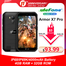 Ulefone Armor X7 Pro IP68 Smartphone 32gb 4gbb GSM/WCDMA/LTE NFC Quad Core Face Recognition/fingerprint Recognition