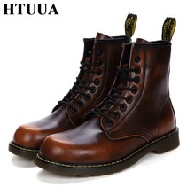 HTUUA 35-44 Paar Aus Echtem Leder Stiefel Frauen Herbst Winter Warme Plüsch Casual Lace-Up Ankle Martens Stiefel frauen Schuhe SX3253(China)
