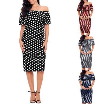 цена на Women Polka Dot Ruffle Maternity Dresses Off Shoulder Summer Pregnancy Dresses Ladies Short Sleeve Pregnant Dress for Female D30