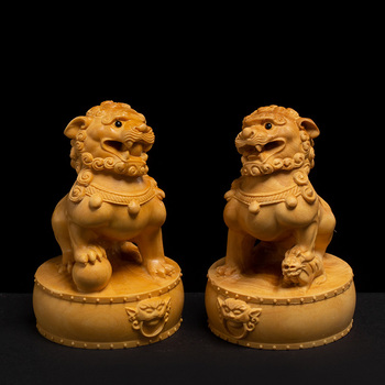 Chinese wood Animal Feng shui Home Guard dog Lion town house Statue Decor Decoration Craft Statues and Sculptures