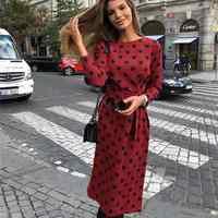 Susi & Rita 2020 Frühling Kleid Frauen Damen Büro Kleider Elegante Lange Sleeve Belted Casual Dot Print Kleid Vestidos Mujer