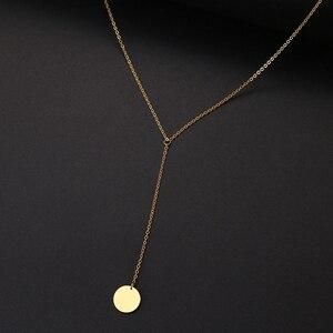 DOTIFI женское дисковое ожерелье, длинная цепочка из нержавеющей стали, новый дизайн, золотые и серебряные украшения