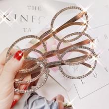 Fashion Oval Diamond Sunglasses Women Luxury Brand Designer Vintage Rhinestone Round Sunglasses
