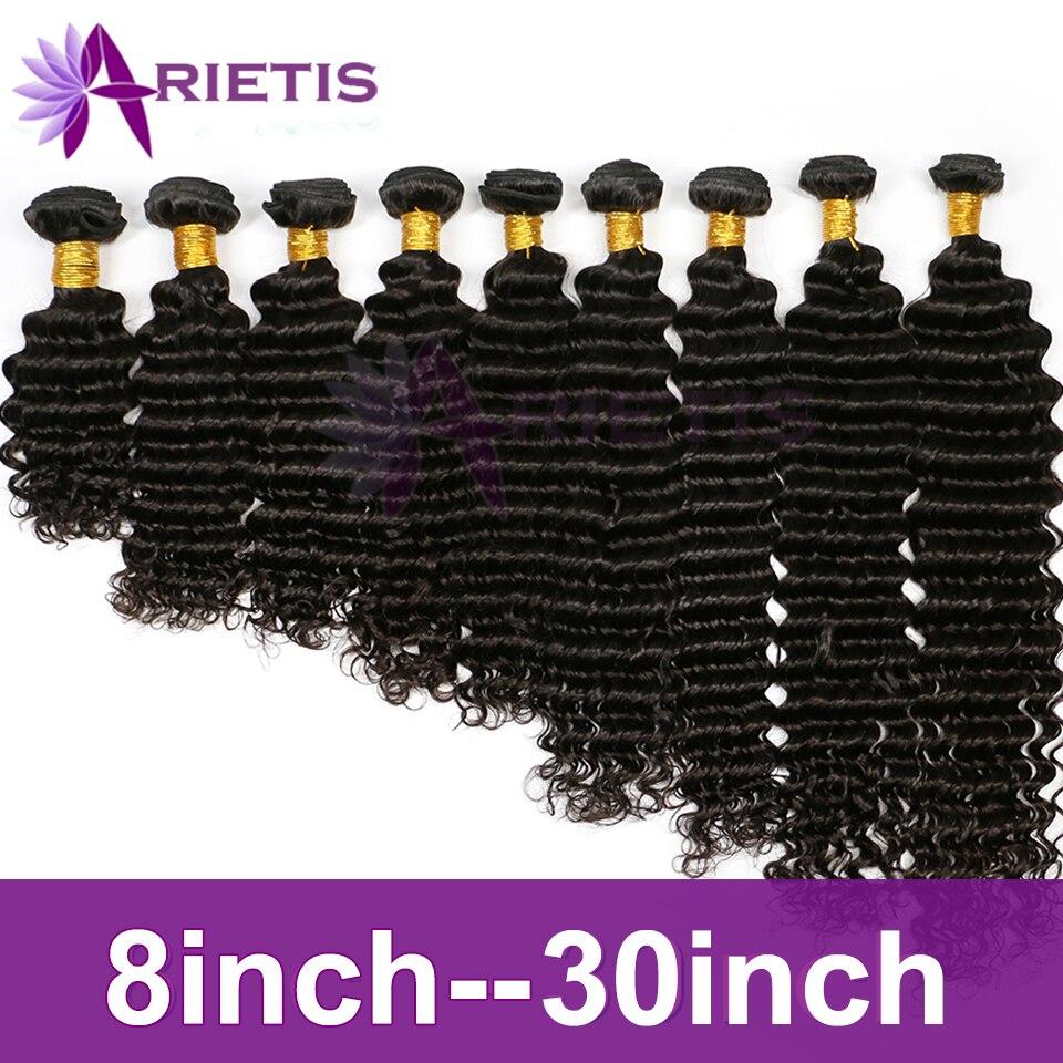 Arietis Hair 8-30 Inches Deep Wave Bundles Peruvian Remy Human Hair Weave Bundles 1 To 10 Pcs Wholesale Natural Color For Women