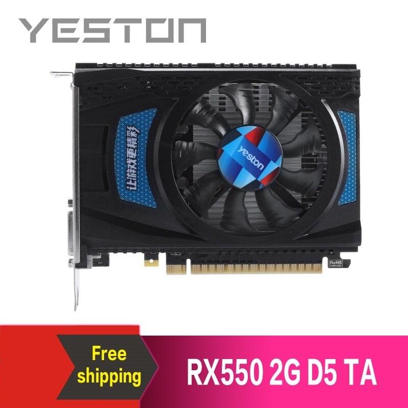 Yeston Radeon RX550 2GB GDDR5 PCI Express 3.0 DirectX12 video gaming graphics card external graphics card for desktop 1