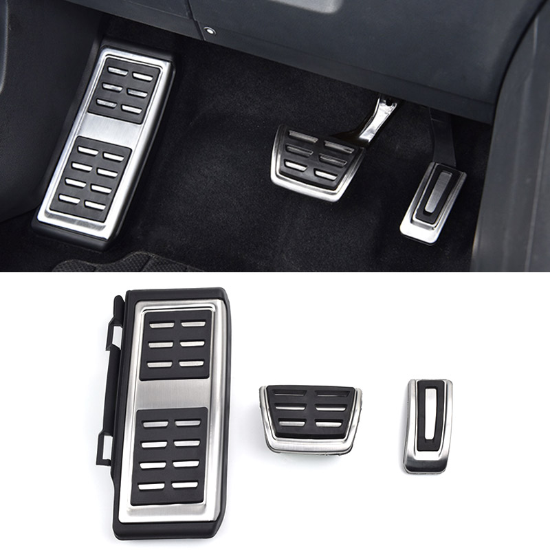 Hivotd For Volkswagen VW Tiguan MK2 2019 Auto Accessories Aluminum Car oil Brake Footrest Plate Pedal Cover AT Or MT Car Sticker in Interior Mouldings from Automobiles Motorcycles
