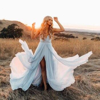 abendkleider 2020 Long Prom Dresses Sexy Spaghetti Straps V-Neck Backless Long Prom Gown Evening Dresses Robe De Soiree
