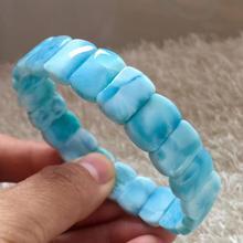 Certificate Natural Blue Larimar Rectangle Beads Bracelet Women Men 13x8mm Stretch Crystal Water Pattern Jewelry AAAAA