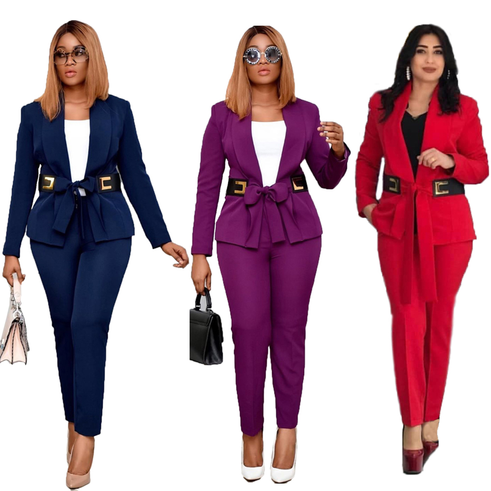 Two Piece Set African Clothing Women 2020 Spring Autumn Long Sleeve Blazers Coat+Pencil Pants Suit Office Lady Outfits With Belt