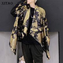 XITAO 트렌드 브론 징 글로스 자켓 여성 불규칙한 무대 의상 Streetwear 플러스 사이즈 코트 여성 성격 루즈 탑 ZLL4599
