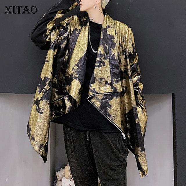 XITAO тренд бронзового цвета Блеск для губ куртка Для женщин Нерегулярные сценический Костюм Уличная плюс Размеры пальто Для женщин личности свободные топы ZLL4599