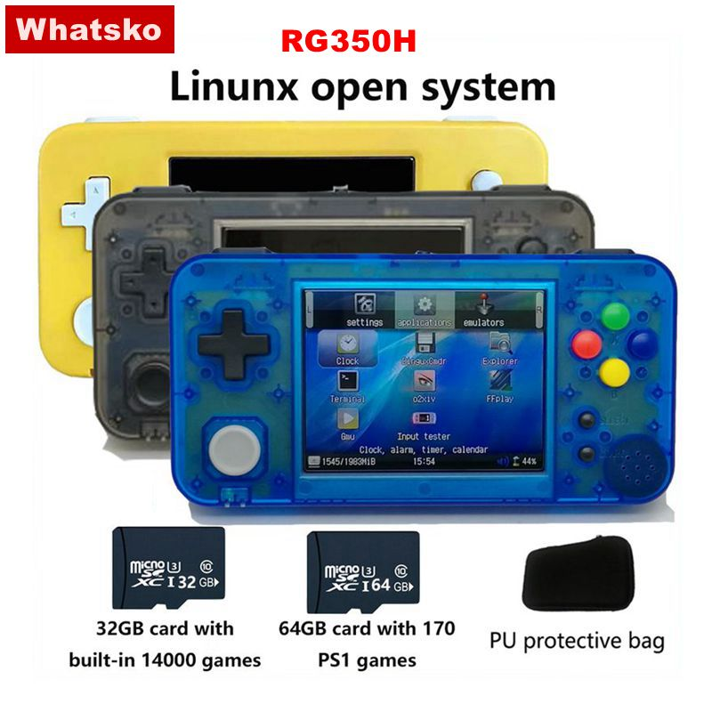 Whatsko GKD 350H - GameKiddy RG350 H IPS Retro Handheld Video Game Console For PS1 3.5 Inch RG350H Palygo System Gaming Console