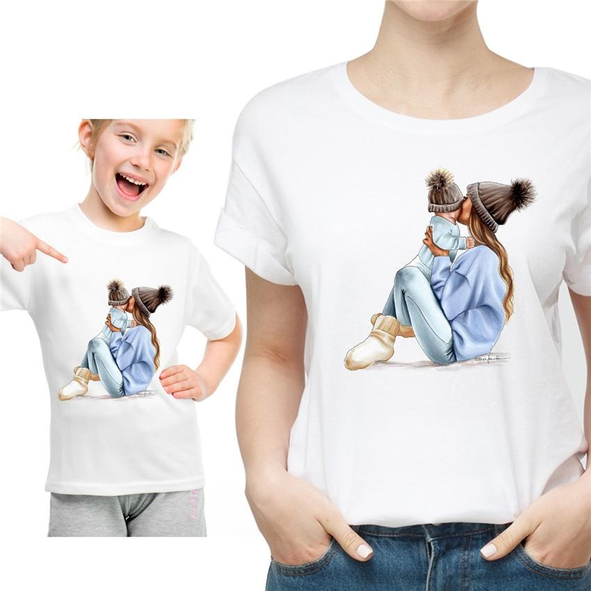 Новая семейная футболка с принтом Одежда «Мама и я» Семейные комплекты с короткими рукавами QT-1924 - Цвет: one t shirt price