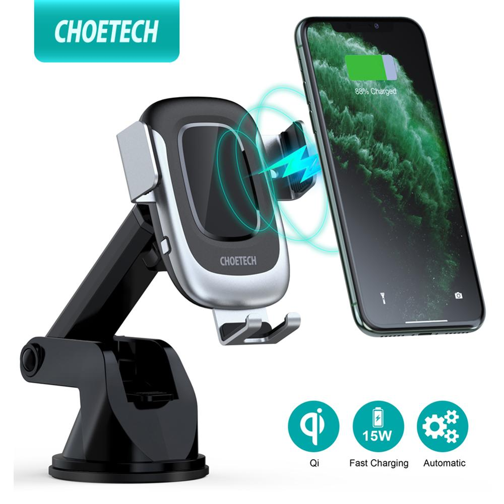 CHOETECH 15W wireless charger for iPhone 11 Pro XS Max Qi Fast Charger for Samsung S10 Automatic Clamping Stand Car Phone Holder