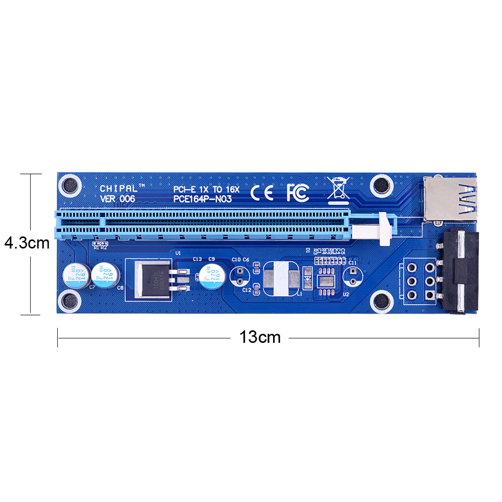 CHIPAL VER006 60CM PCIe PCI-E 1X to 16X Riser Card Extender SATA to 4Pin Power Cord USB 3.0 Data Cable for BTC Miner Bitcoin-1