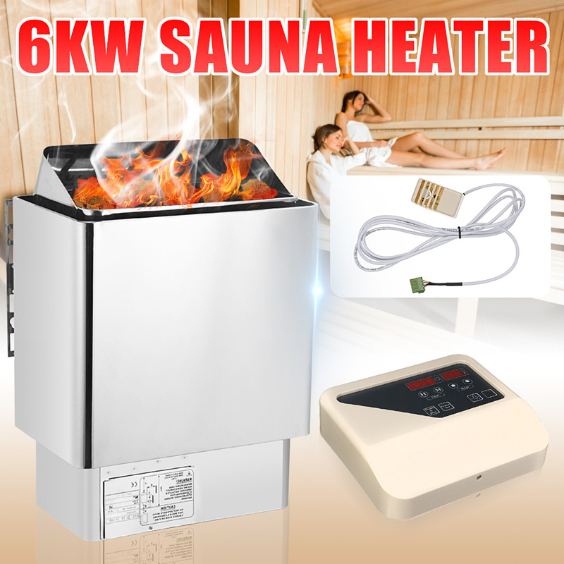 6KW 220V Electric Wet /& Dry Stainless Steel Sauna Heater Stove Internal Control