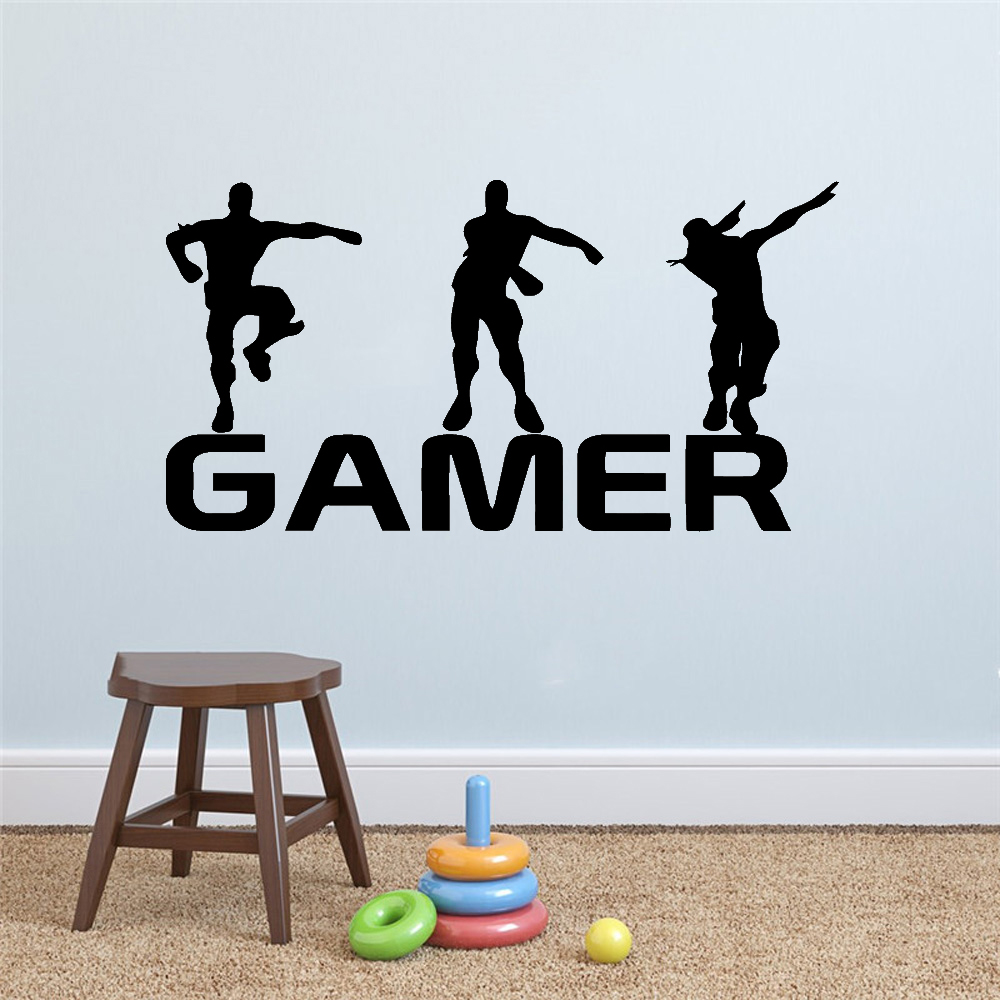Gamer Vinyl Wall Sticker For Kids Rooms Decoration Decal Poster Boys Gaming PS4 Battle Royale Game Stickers Mural Wallpaper