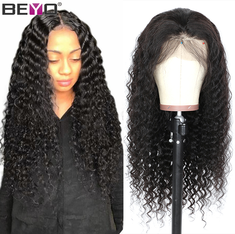 Glueless Lace Front Human Hair Wigs For Black Women Pre Plucked Deep Wave Brazilian T Part Wig With Baby Hair Beyo Remy Wig