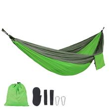 Portable With 2 Straps 2 Carabiner 210T Nylon Double Hammock Adult Outdoor Backpacking Travel Survival Hunting Sleeping Bed