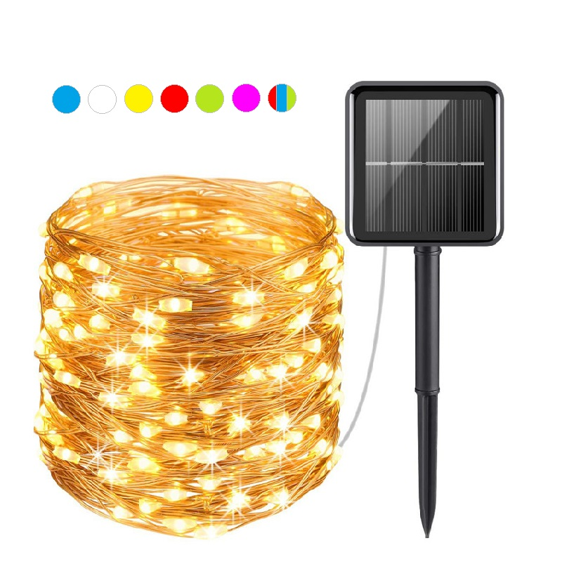 50 100 200 led solar LED Light Waterproof LED Copper Wire String Holiday Outdoor led strip Christmas Party Wedding Decoration