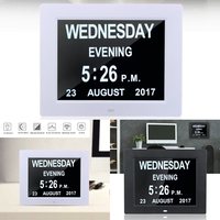 8 LED Large Time Wall Clock With Digital Wall Clock Time Calendar Day Week Month Year Calendar Nightlight For Home Living Room