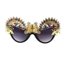 Baroque Butterfly Sunglasses Women Metal Bling Vintage Retro Designer Luxury Unique Rhinestone Crystal Diamond Sun Glasses 2019