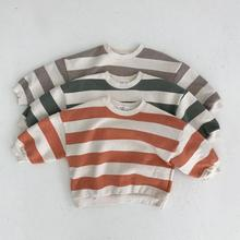 Baby Sweatshirt 2021 Spring New Striped Boys Sweatshirt Girls Long Sleeve Pullover Cotton Tops Toddler Infant Clothes