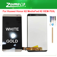Original For Huawei Honor X2 MediaPad X2 GEM 703L LCD Display+Touch Screen Digitizer Assembly White Gold With Tools tape