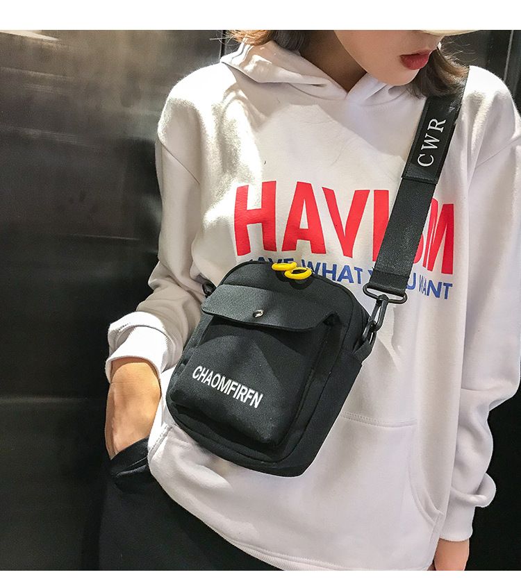 2018 New Style Shoulder Fashion Korean-style Versatile Retro Laziness-Style Students INS Online Celebrity Black Canvas Bag Women