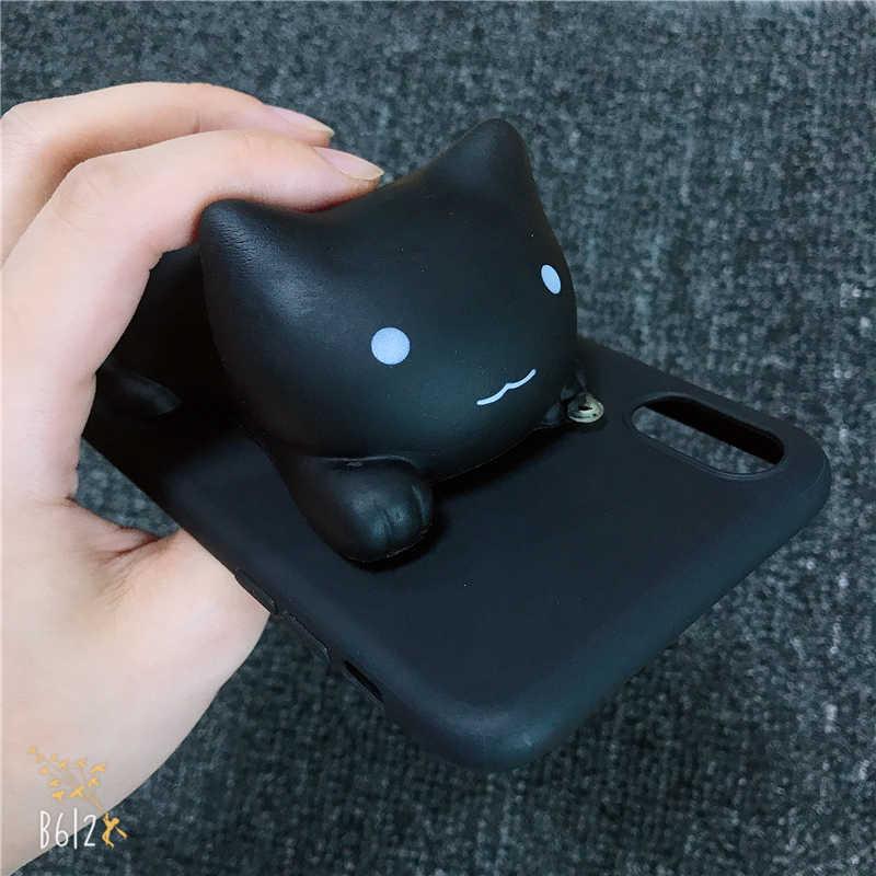 화웨이 명예의 전화 케이스 7x v9보기 10 20 v10 v20 2018 플레이 5a 7 s 7a 8a 7c 6c 검은 고양이 장난감 새끼 고양이 키티 소프트 실리콘 커버