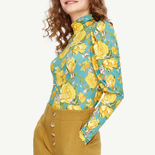 Papan Wanita 2020 Musim Semi Baru T Shirt Kuning Bunga Turtleneck Puff Sleeve Elegan Elastis Slim Fit Kaos Wanita(China)