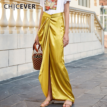 CHICEVER Striped Skirt For Women High Waist Ruched Split Asymmetric Hem Loose Yellow Elegant Skirts Female 2020 Autumn Clothing twotwinstyle casual denim shorts skirts high waist ruffle hem loose ruched short pants female fashion clothing 2020 spring tide