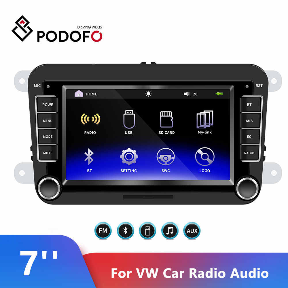 "Podofo coche Multimedia 7 ""coche Radio Audio Bluetooth Autoradio pantalla táctil MP5 reproductor de Radio FM Android y IOS enlace espejo para VW"