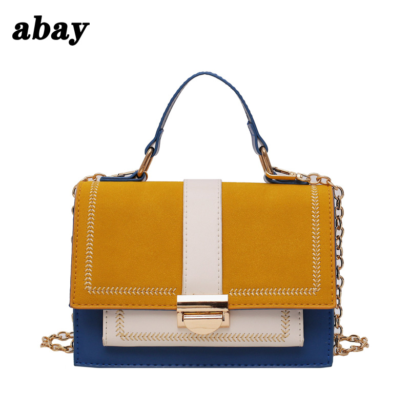 Personality stitching contrast color shoulder bag female 2019 summer niche design new chain portable diagonal small square bag image